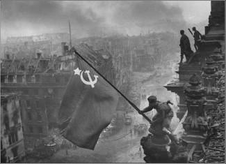 Вид на Рейхстаг после окончания военных действий