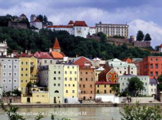Пассау: вид на старый город и епископскую резиденцию