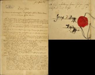 Первая страница завещания и подпись Йозефа Гайдна