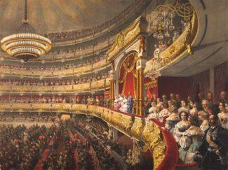 М. Зичи. Зрительный зал в день открытия Большого театра во время визита императора Александра II, 1856 год