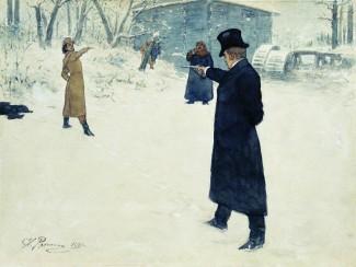 Дуэль Онегина и Ленского. Картина И. Е. Репина.