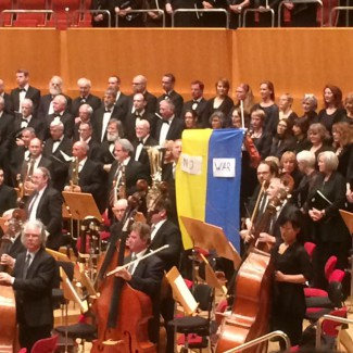 Михаил Нодельман с украинским флагом