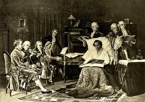 «Моцарт, поющий «Реквием». Картина Томаса Шилдса, 1882 год