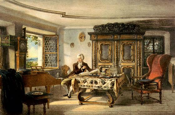 Моцарт на вилле в Каленберге близ Вены. Литография
