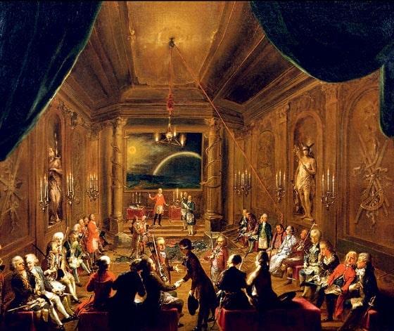 Церемония посвящения адепта в венской масонской ложе «Новая венценосная надежда» (Моцарт, предположительно, на переднем плане справа). Неизвестный художник, 1790 год