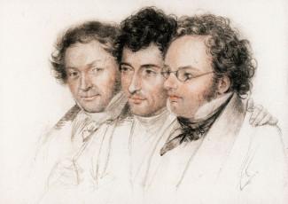 Трое друзей - Иоганн Батист Энгер, Ансельм Хюттенбреннер и Франц Шуберт. Литография Й. Тельчера, 1827