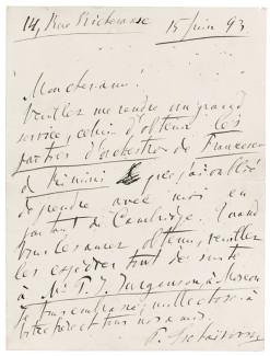 Письмо П. И. Чайковского к издателю Эмилю Хацфельду. Фото - Sotheby's