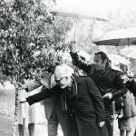 Члены жюри и гости VII конкурса сажают дерево в парке музея, 1982 г.
