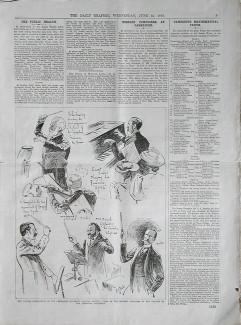 """Газета """"Daily Graphic"""" от 14 июня 1893 года с зарисовками участников торжеств в Кембридже. Единственное, сохранившееся ихображение дирижирующего Чайковского"""