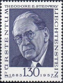 Марка с портретом Теодора Стейнвея (1883 – 1957). Почтовая серия Лихтенштейна