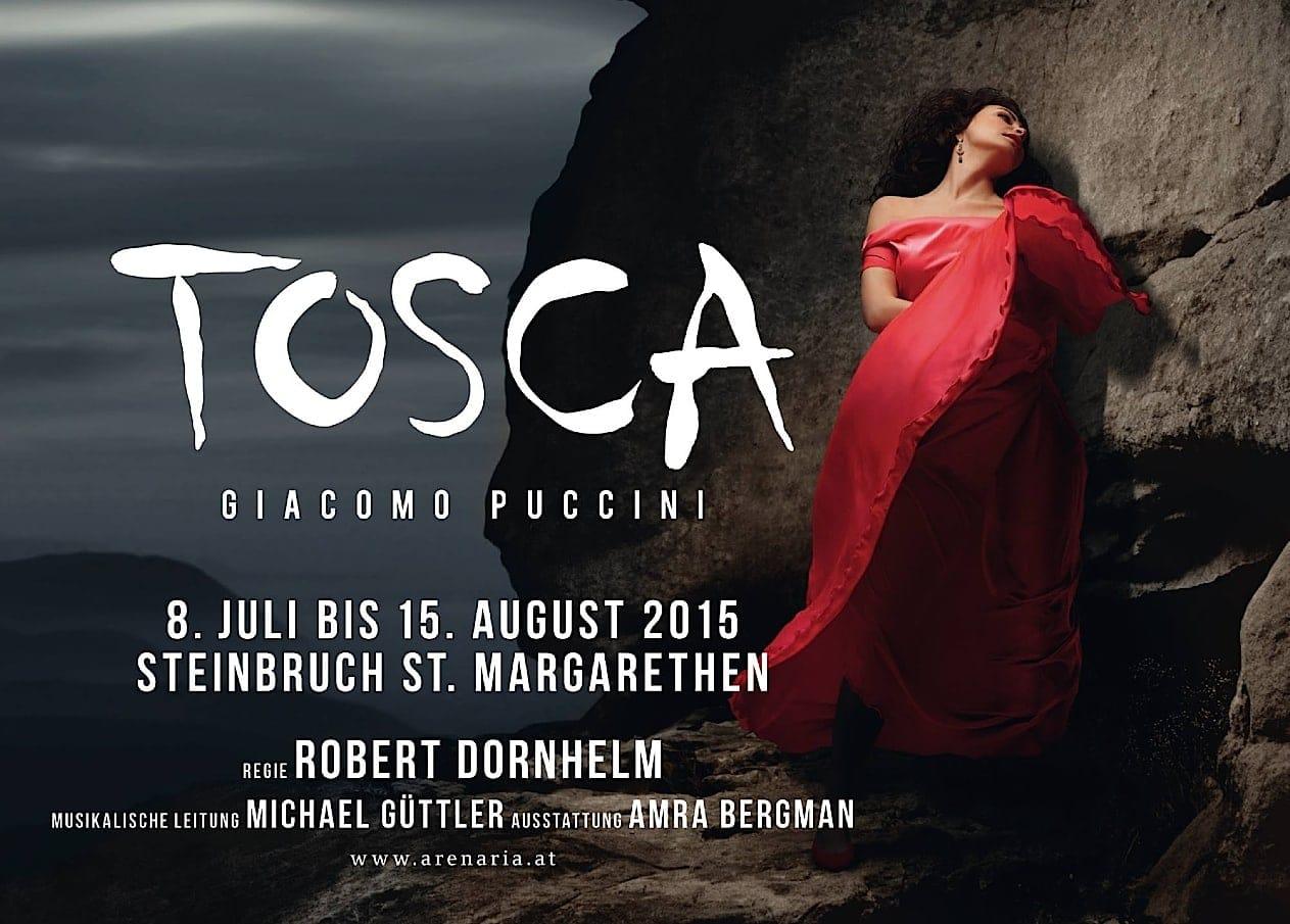 Афиша оперы Пуччини Тоска на фестивале в Санкт-Маргаретене