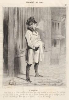 """Оноре Домье, """"Клакер"""", гравюра из цикла """"Парижская богема"""", 1842"""