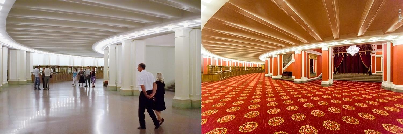 Интерьер Новосибирского театра до и после ремонта. Фото - Виктор Дмитриев (было), Александр Ощепков (стало)