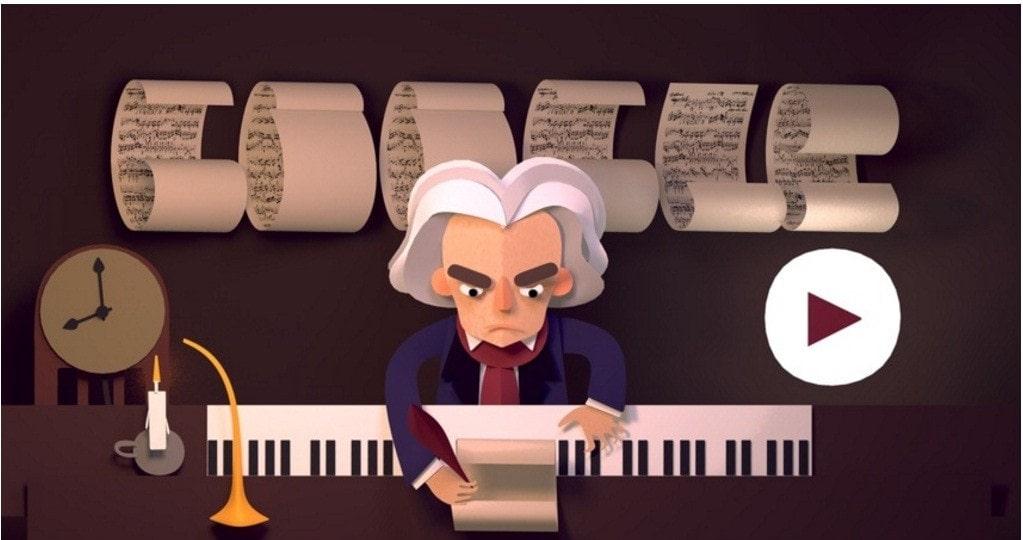 Google разместил на главной странице поиска музыкальный дудл-головоломку в честь 245-летия с дня рождения Бетховена