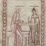 Гвидо д'Ареццо обучает игре на монохорде епископа Теобальда. Миниатюра из кодекса XI века. Фото - Wikimedia Commons