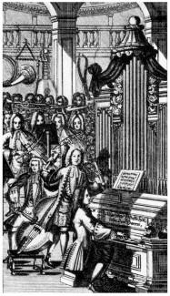 Инструментальная капелла XVIII века. Гравюра