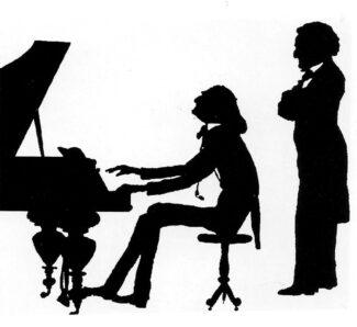 Лист и Вагнер, карикатура, тушь