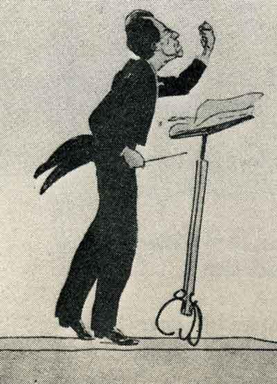 Густав Малер за дирижерским пультом, карикатура