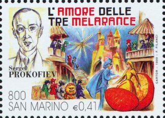 """Почтовая марка Сан-Марино """"Любовь к трем апельсинам"""", 1999 год"""