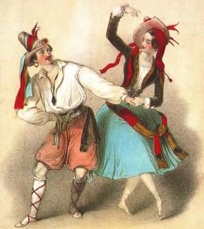 """Танец из балета """"Катарина дочь разбойника"""". Люсиль Гран и Жюль Перро. Лондон, 1846 год"""
