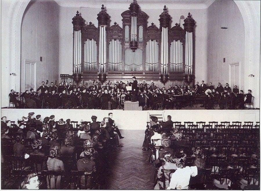 Репетиция в Большом зале консерватории, 1900 год. Фото - pastvu.com