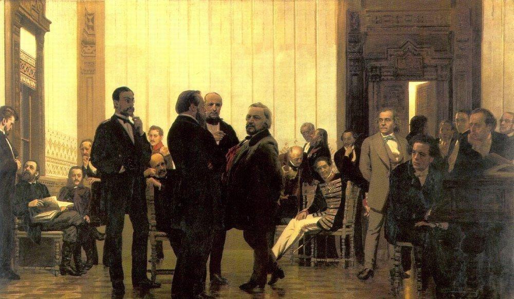 """И. Е. Репин - """"Славянские композиторы"""", 1872 год. Холст, масло"""
