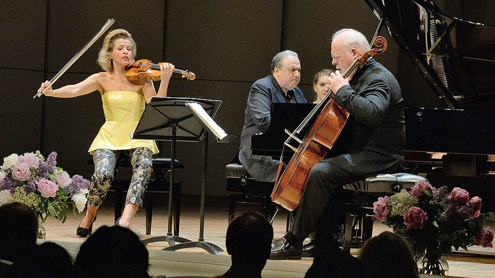 Анне-Софи Муттер, Ефим Бронфман и Линн Харрелл в Московской филармонии. Фото - Юрия Мартьянов