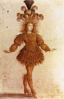 Людовик XIV в «Королевском балете ночи» Жана Батиста Люлли. Эскиз Анри де Жиссе, 1653 год. В постановке король исполнил роль восходящего солнца. Фото - Wikimedia Commons