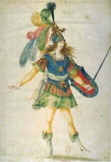 Костюм воина из «Королевского балета ночи». Эскиз Анри де Жиссе, 1653 год. Фото - Wikimedia Commons