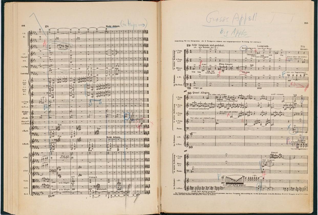 Страница партитуры 2-й симфонии Малера, принадлежавшей Леонарду Бернстайну