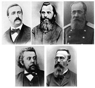 А. Бородин, М. Балакирев, Ц. Кюи, М. Мусоргский и Н. Римский-Корсаков