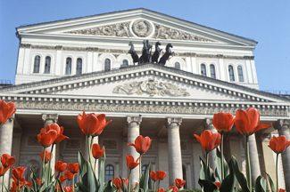 Тюльпаны у Большого театра, 1971 год. Фото - Борис Кавашкин/РИА Новости