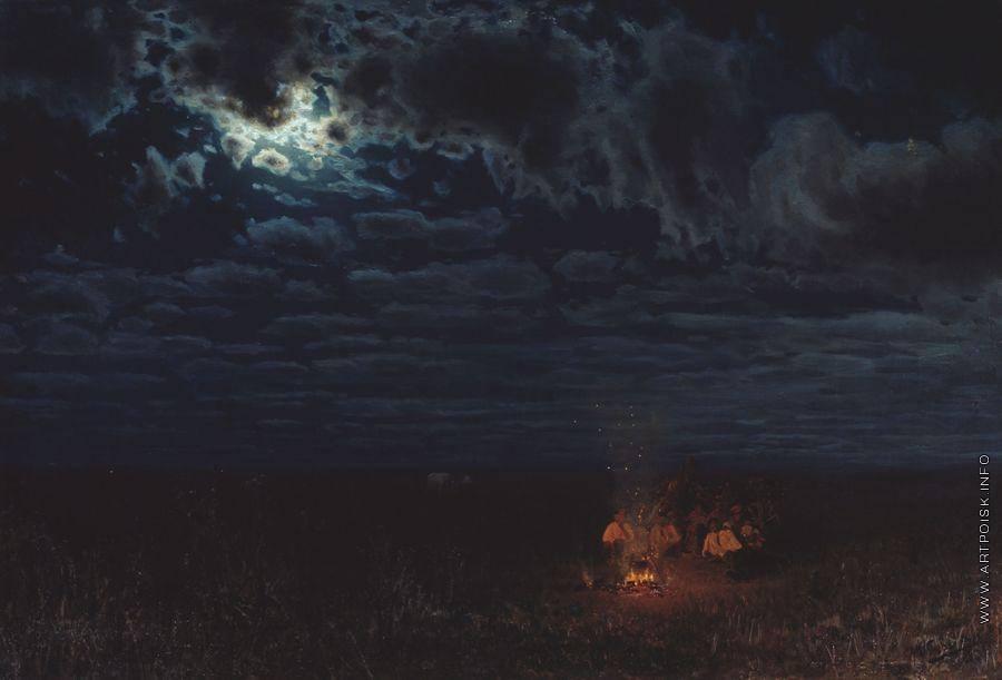 """Н. А. Сергеев. """"Ночью в степи"""", 1889"""