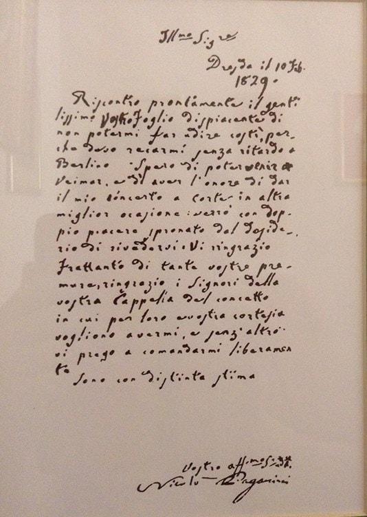 Письмо Паганини Гуммелю