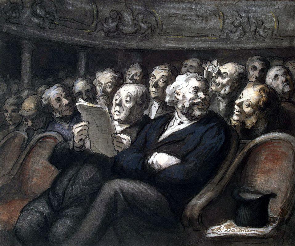 """Оноре Домье. """"Антракт в театре"""", 1864 год"""