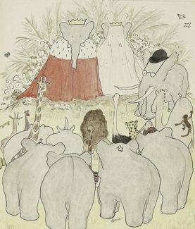 """Одна из иллюстраций к книге Жана де Брюноффа """"История Бабара, маленького слоненка"""""""