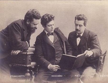 Пьетро Масканьи, Джакомо Пуччини и Альберто Франкетти (слева) – тот самый Франкетти, за которого позднее, когда политика фашистского режима в Италии обрела, наконец, антисемитскую составляющую, Масканьи пытался вступиться перед Муссолини
