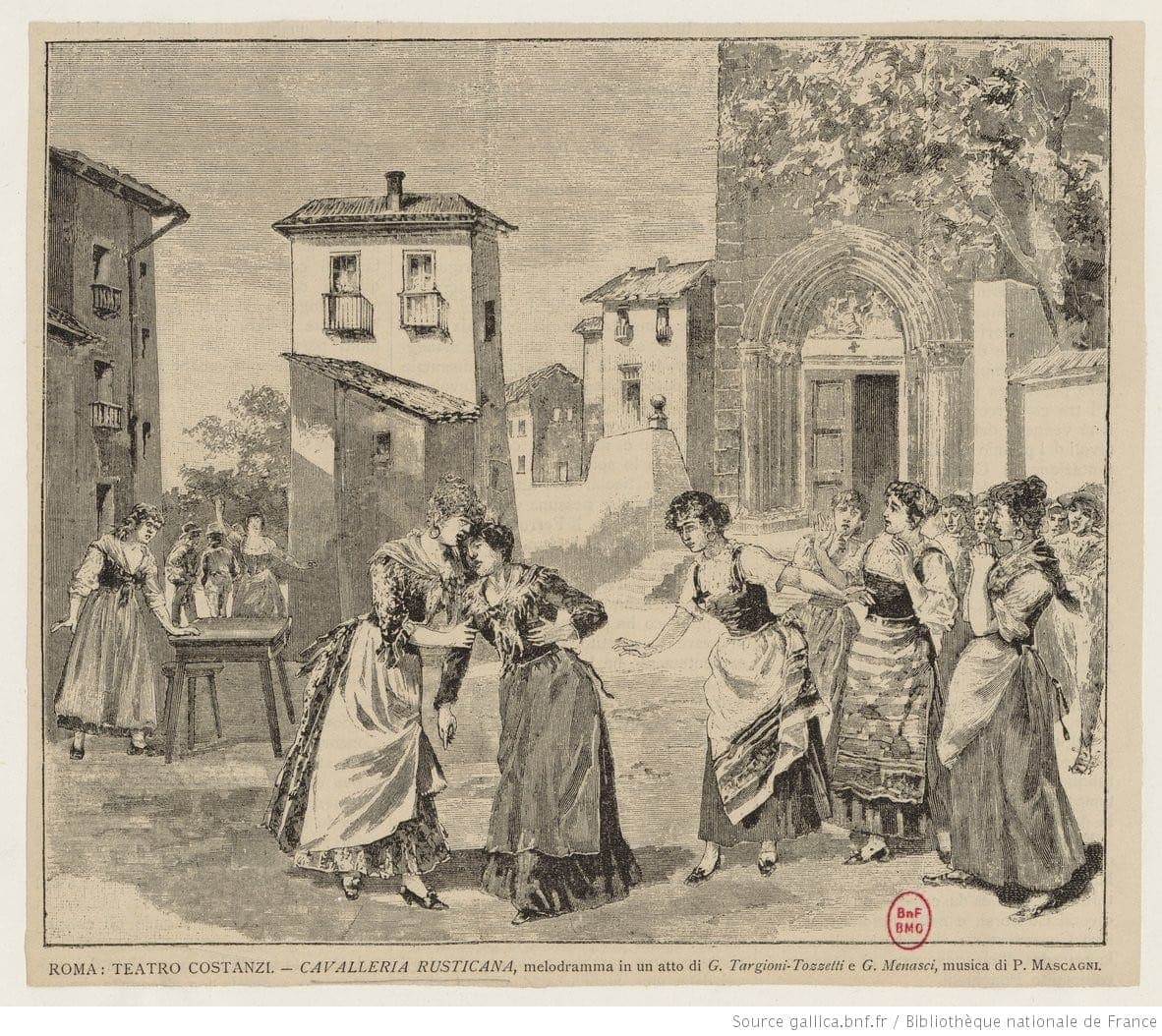 """Открытка с изображением сцены спектакля оперы """"Cavalleria rusticana"""" в Teatro Costanzi. Премьера 17 мая 1890."""
