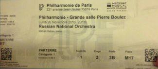 Билет на концерт Геннадия Рождественского, Михаила Плетнева и РНО в Париже 28 ноября 2016