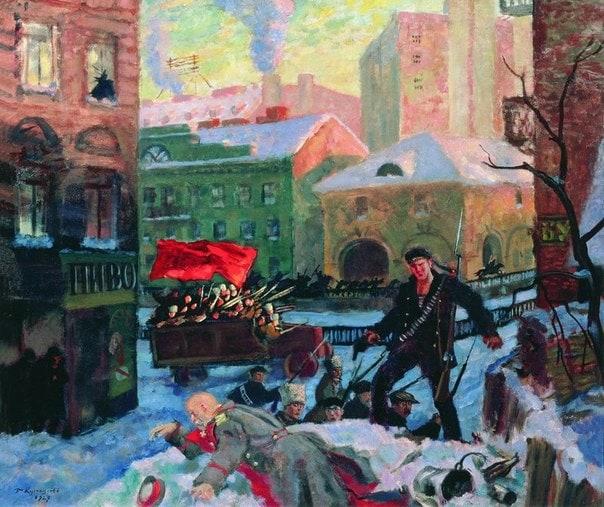 "Борис Кустодиев, ""Октябрь в Петрограде"", 1927 год, холст, масло"