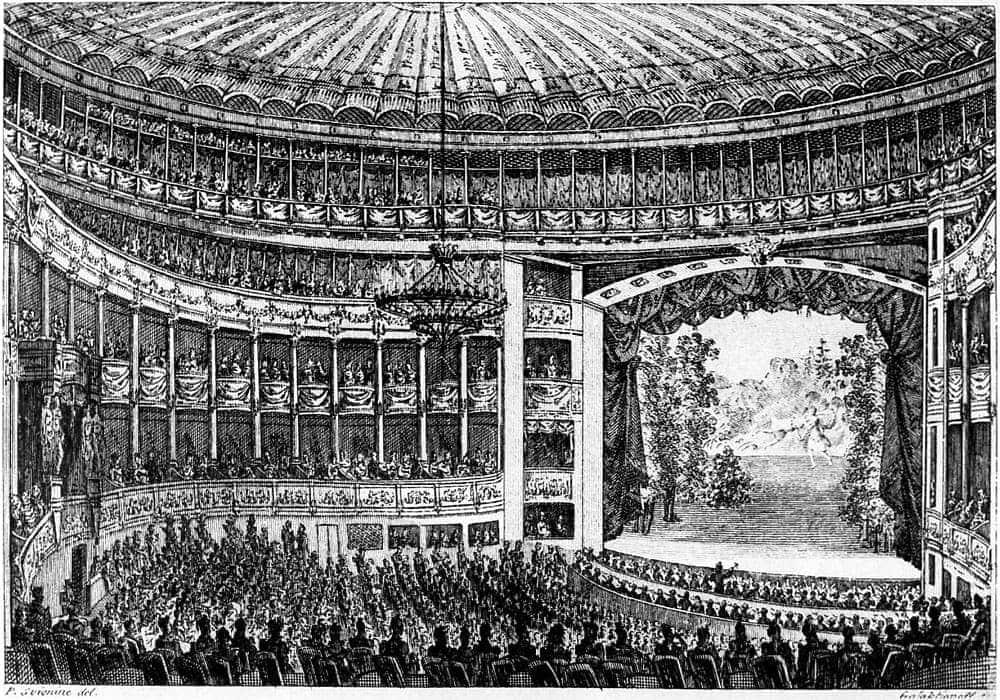 Большой театр в Санкт-Петербурге. Гравюра 19 века