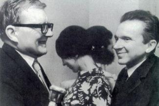 Дмитрий Шостакович с Мечиславом Вайнбергом и его женой Ольгой Рахальской. Фото - личный архив Ольги Рахальской