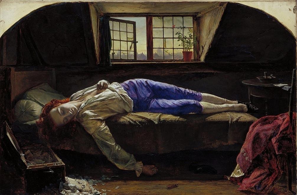 «Смерть Чаттертона». Картина кисти Генри Уоллиса, 1856 г.
