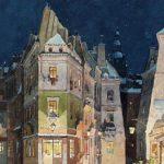 """Парижская улица — декорации ко второму акту оперы для мировой премьеры """"Богемы"""" в Театро Реджио, Турин, 1 февраля 1896 г."""