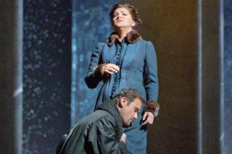 "Mariusz Kwiecien as the title character and Anna Netrebko as Tatiana in Tchaikovsky's ""Eugene Onegin."" Photo: Ken Howard/Metropolitan Opera Taken on September 13, 2013 at the Metropolitan Opera in New York City."