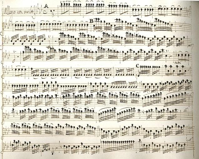 "Манускрипт А. Вивальди ""L'Inverno"", 1 часть Allegro non molto"