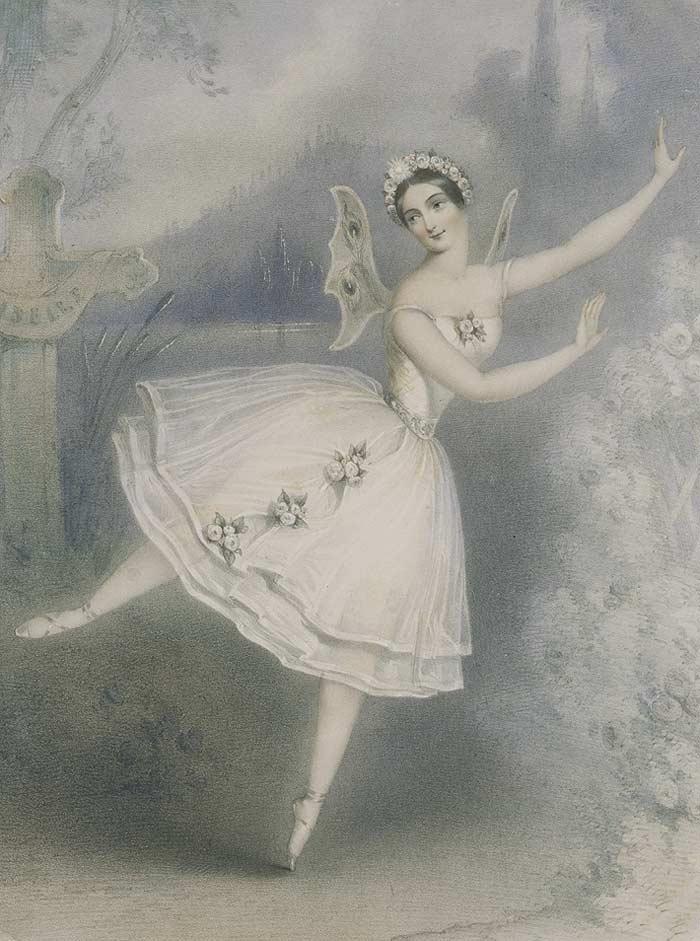 Карлотта Гризи в роли Жизели, литография, 1841 год