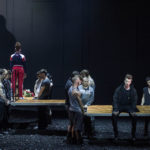 Благородных персонажей оперы угрюмые пролетарии весь спектакль держат на руках. Фото - Анна Молянова