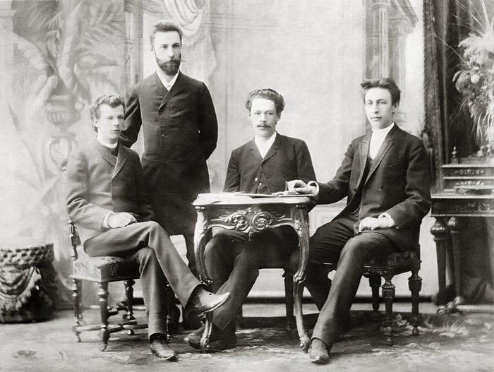 А. С. Аренский и его студенты: Лев Конюс, Никита Морозов и Сергей Рахманинов