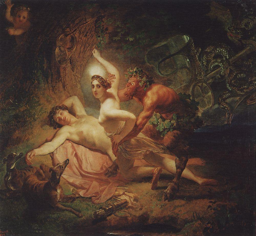 """Карл Павлович Брюллов - """"Диана, Эндимион и Сатир"""", 1849 год"""